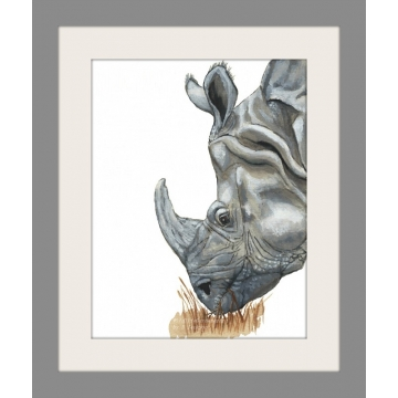 Rhino watercolor art print, safari animal, wildlife, kids nursery art