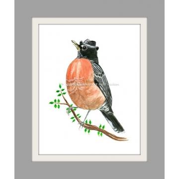 Robin in Fedora Hat Watercolor Bird Art Print