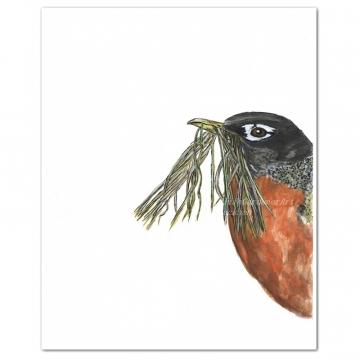 Spring Robin Watercolor Bird Art Print