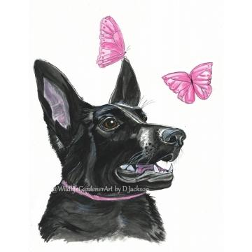 Black dog with pink butterflies watercolor art print, pet portrait