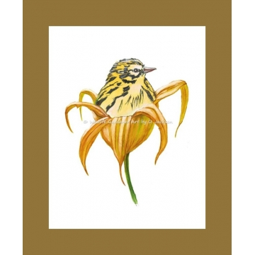 Yellow Bird in Orange Lily Flower Watercolor Art Print