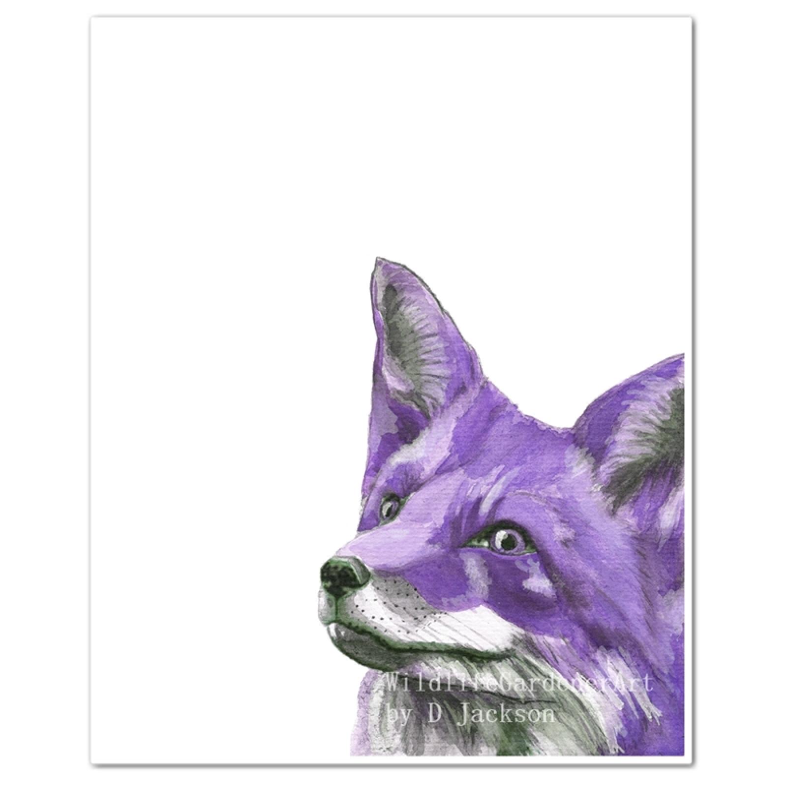 Purple Fox Watercolor Art Print Wildlife Gardener Art