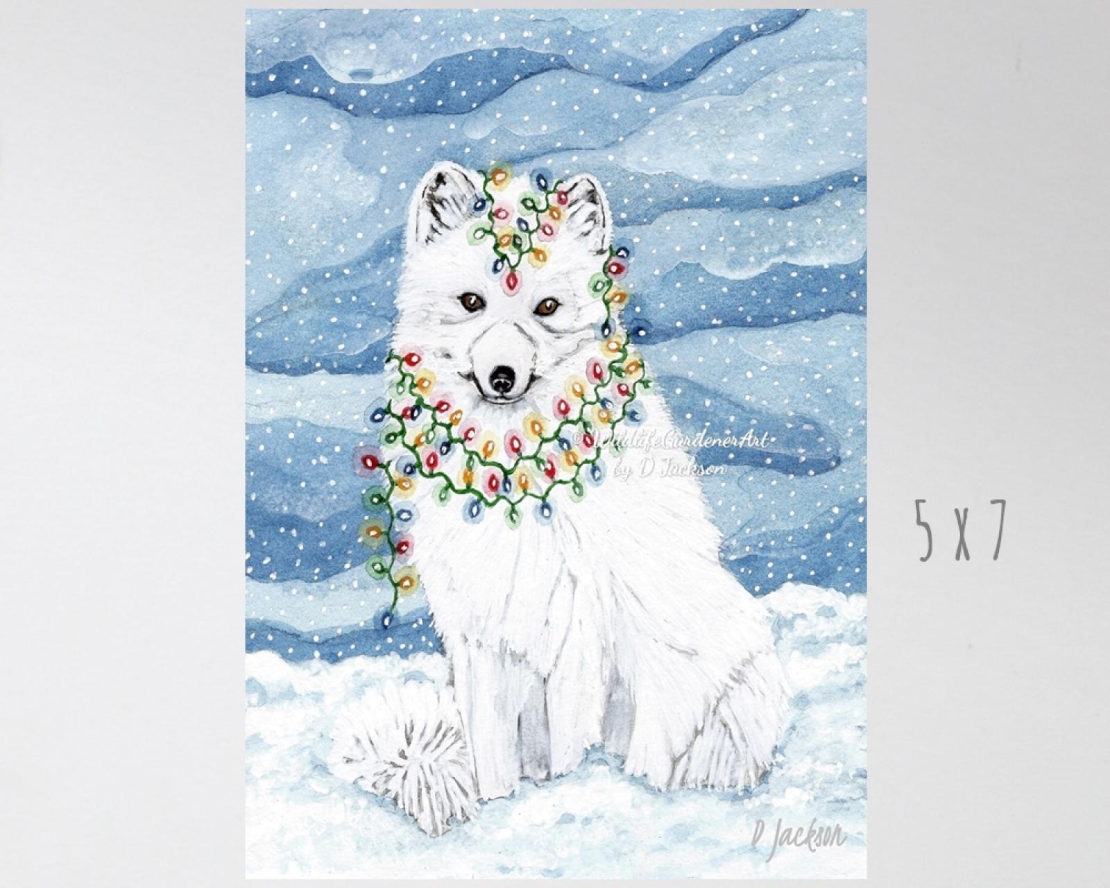 Christmas Lights Arctic Fox Watercolor Art Print | Wildlife Gardener Art