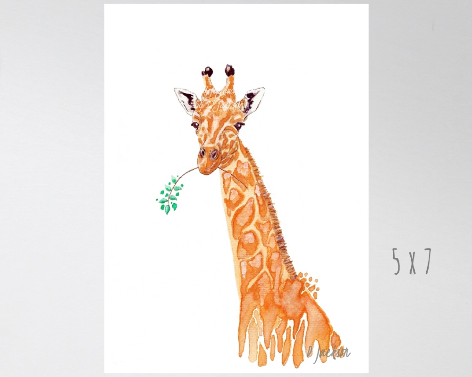 Orange Giraffe Watercolor Art Print Wildlife Gardener Art