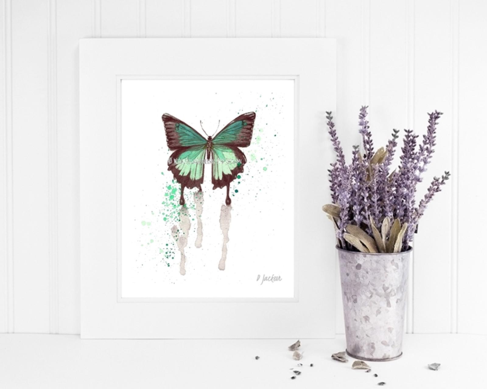Aqua Butterfly Watercolor Art Print Wildlife Gardener Art