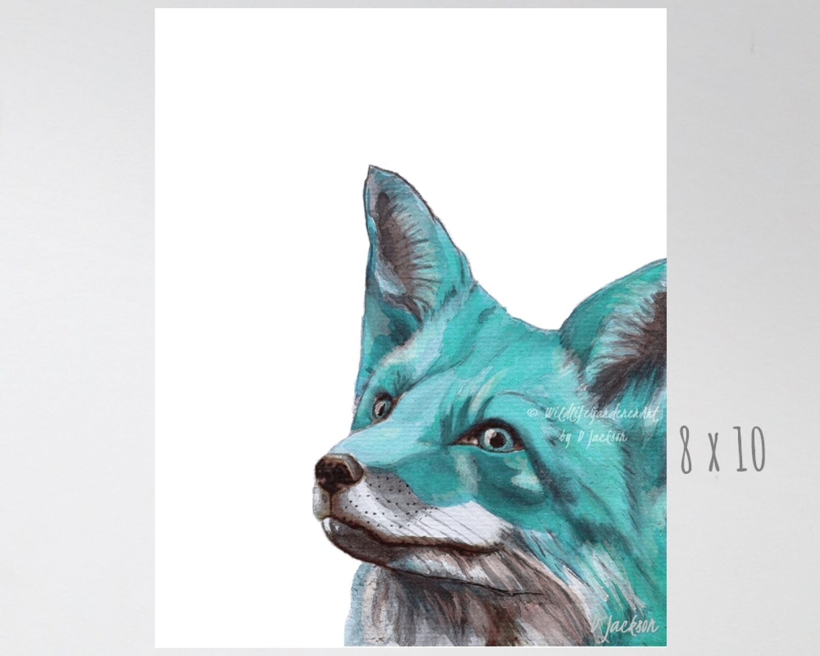 Aqua Blue Fox Watercolor Art Print Wildlife Gardener Art