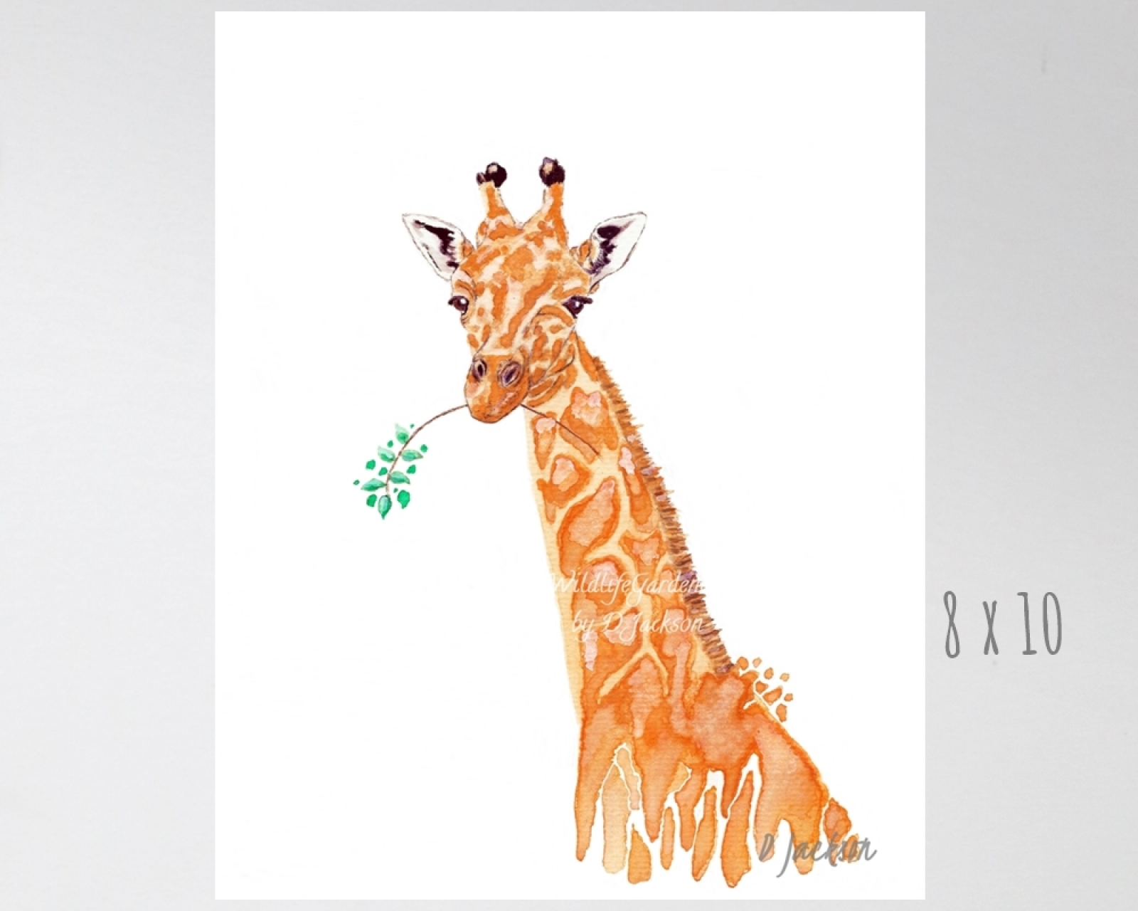 Orange Giraffe Watercolor Art Print | Wildlife Gardener Art