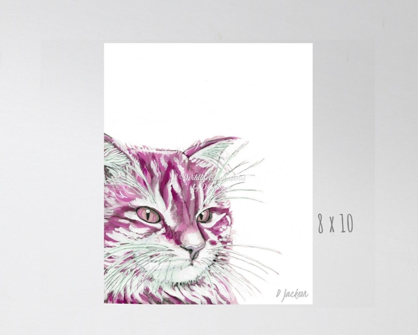 Pink Cat Watercolort Art Print Wildlife Gardener Art