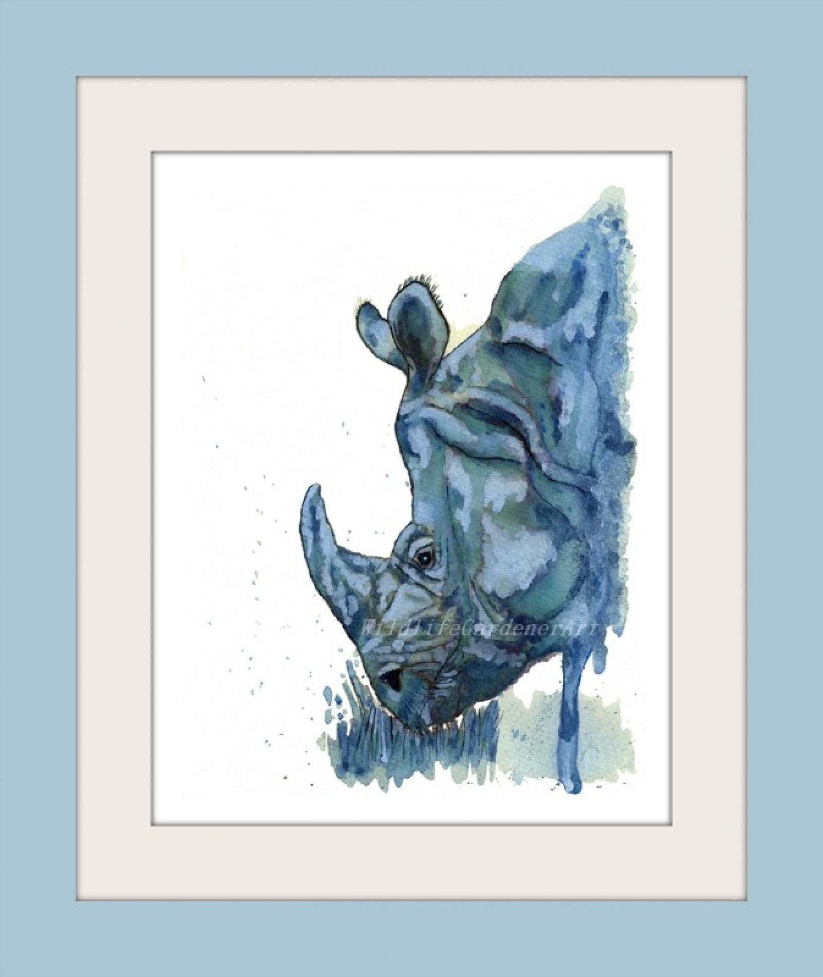Blue Rhino Watercolor Art Print Contemporary Safari