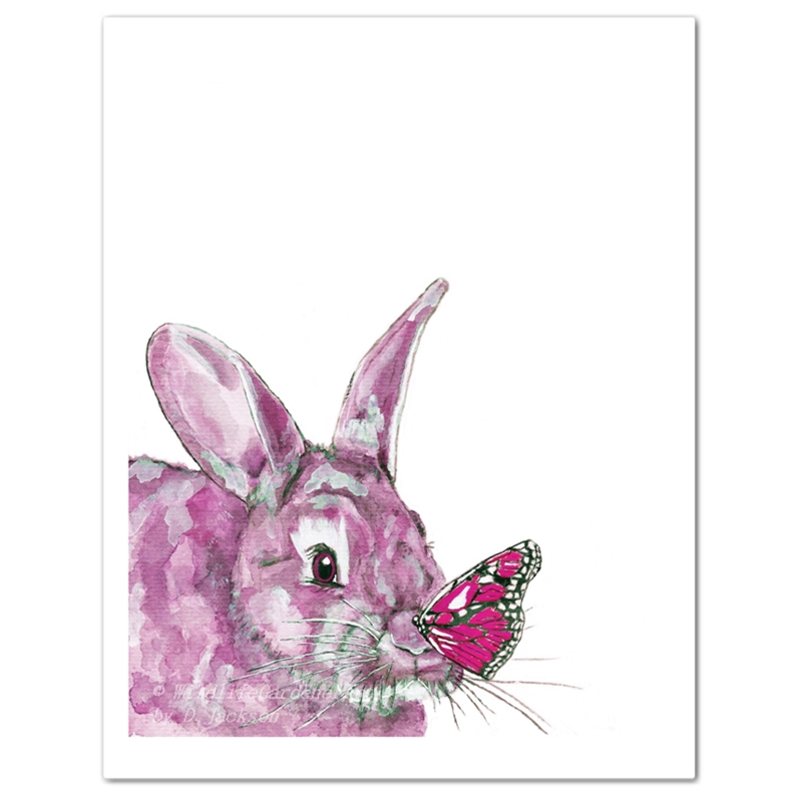 Pink Watercolor Bunny And Butterfly Art Print Rabbit Wall