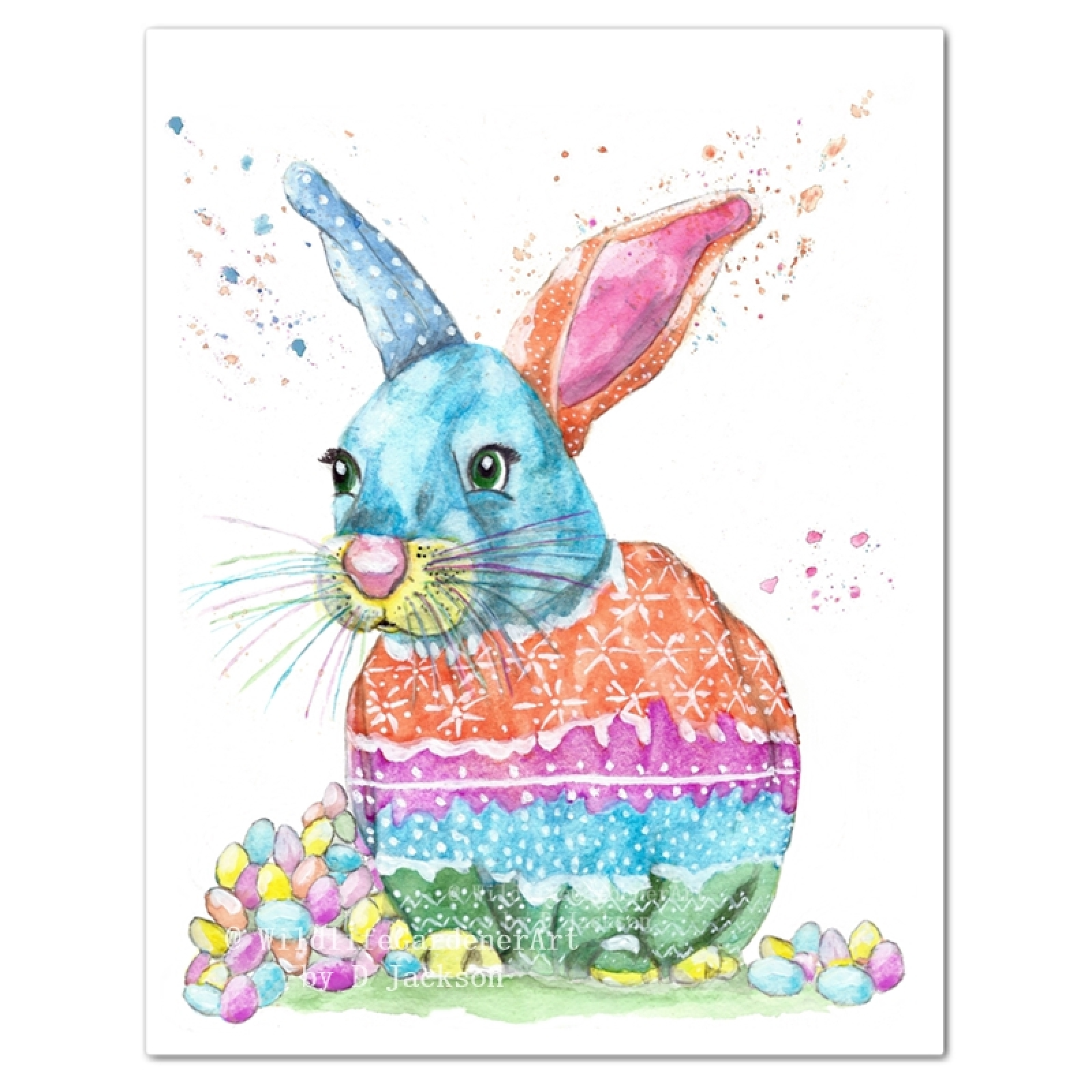 Easter Bunny Watercolor Art Print Wildlife Gardener Art
