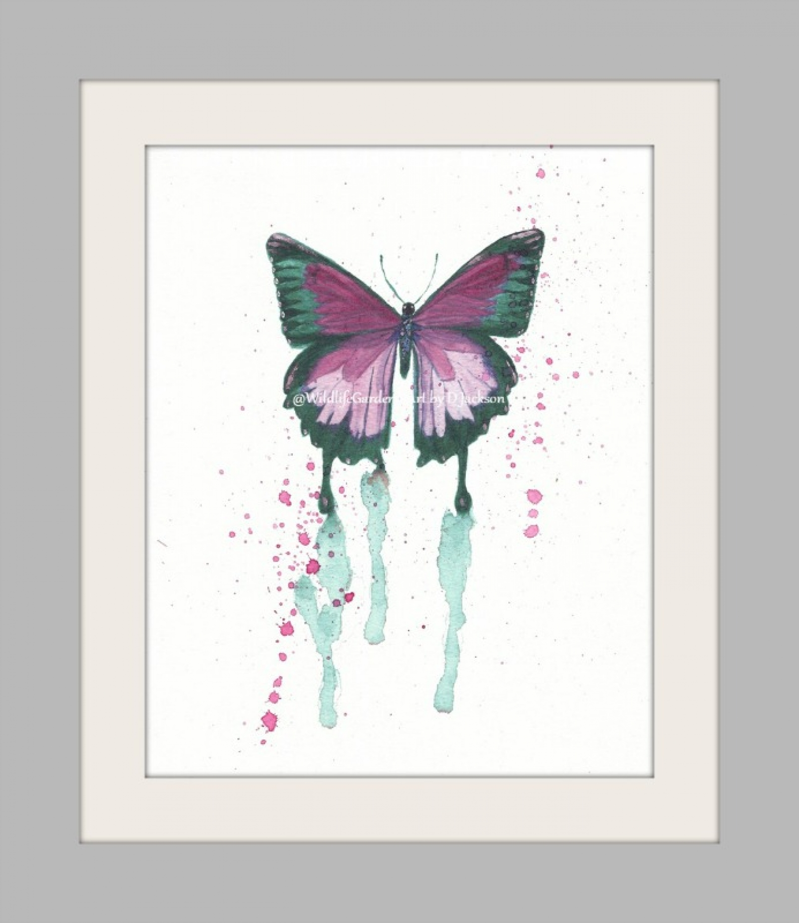 Butterfly Watercolor Art Prints Pink Green Set Of 2