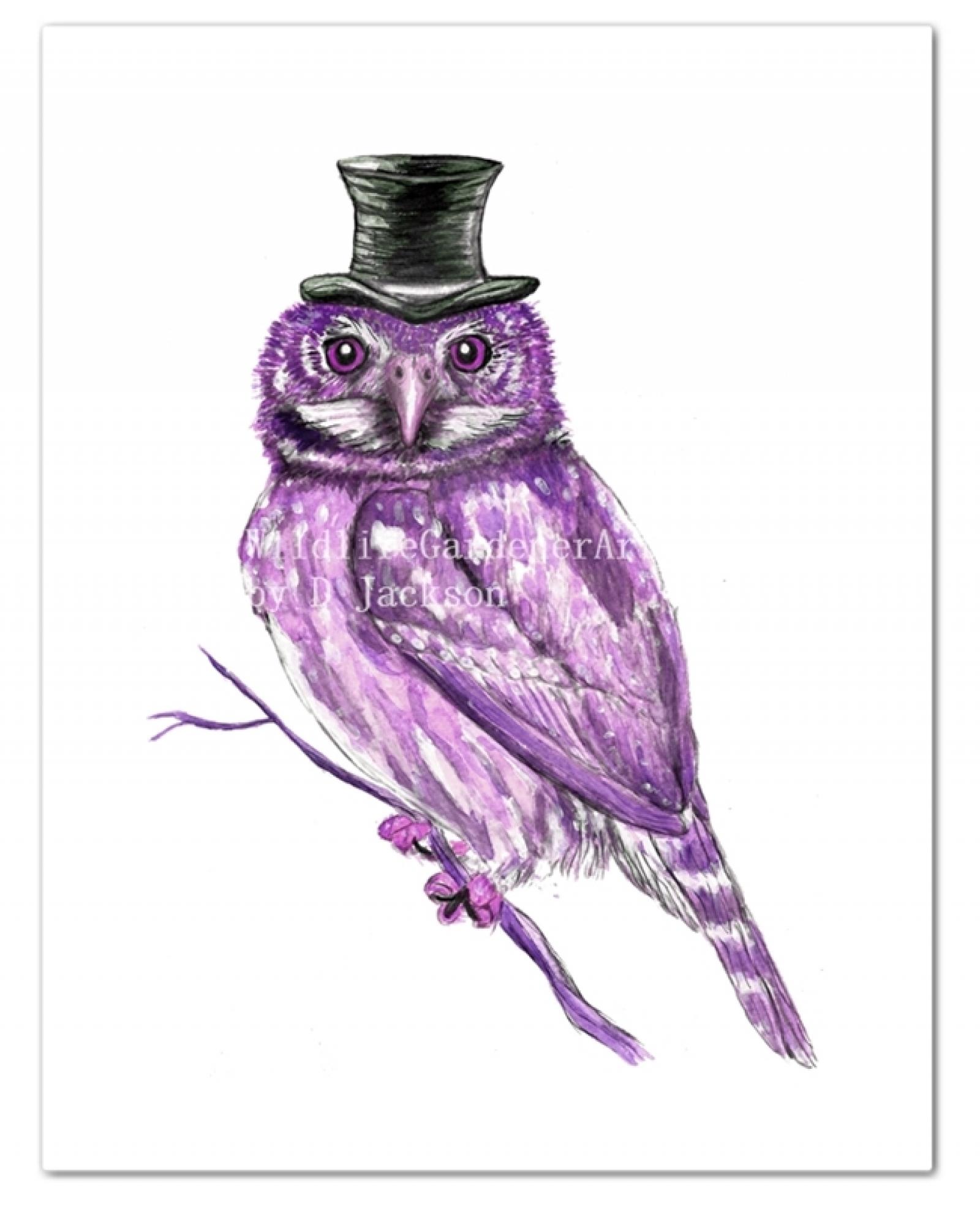 Purple Owl In Top Hat Watercolor Art