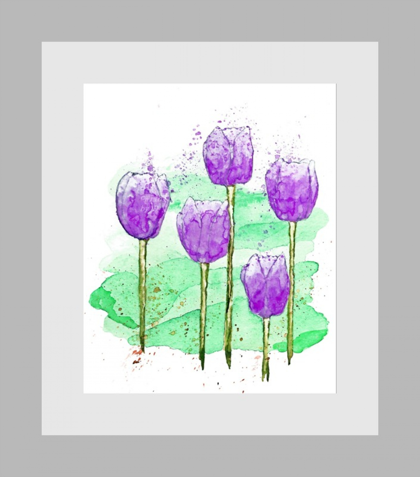 Pink and Purple Tulips Modern Watercolor Art Prints, Set of 2 ...
