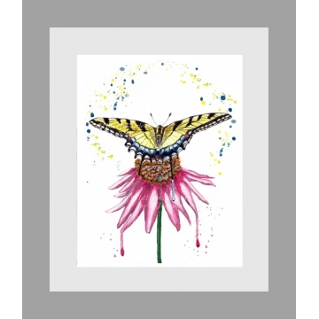 Swallowtail Butterfly with Coneflower Watercolor Art Print