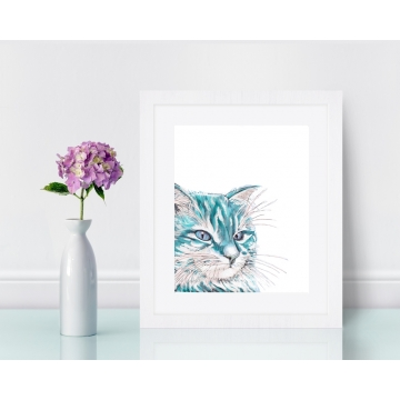 Aqua Blue Cat Watercolor Art Print