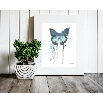 Watercolor Blue Butterfly Art Print, 11 x 14 Unframed