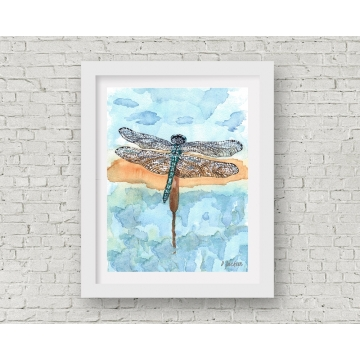 Blue Dragonfly Watercolor Art Print, 11 x 14 Unframed