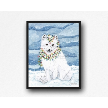 Christmas Lights Arctic Fox Watercolor Art Print, 11 x 14 Unframed