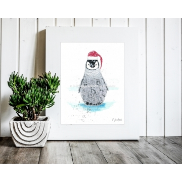 Baby Penguin Christmas Decor, Watercolor Art Print 11 x 14 Unframed