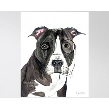 Whimsical Pit Bull Watercolor Art Print, 11 x 14
