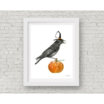 Halloween Crow Watercolor Art Print, 11 x 14 Unframed