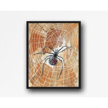 Halloween Spiders Watercolor Art Print, 11 x 14 Unframed