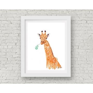 Orange Giraffe Watercolor Art Print, 11 x 14 Unframed