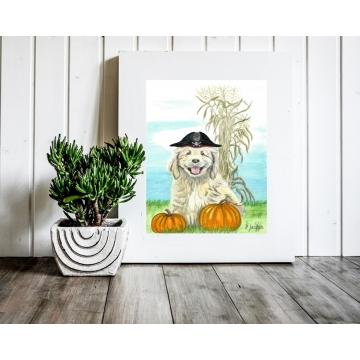 Halloween Puppy Pirate Watercolor Art Print, 11 x 14 Unframed
