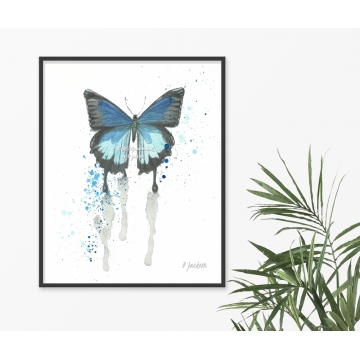 Contemporary Blue Butterfly Watercolor Art Print, 16 x 20 Unframed
