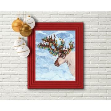 Reindeer Christmas Decor, Watercolor Art Print 16 x 20 Unframed