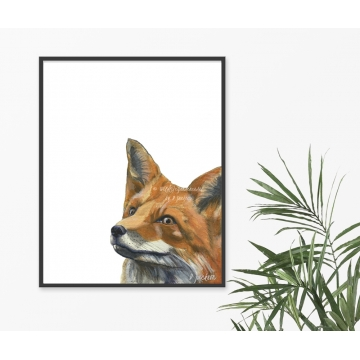 Red Fox Modern Watercolor Art Print, 16 x 20, Unframed