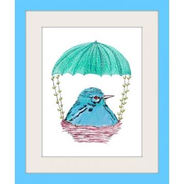 Aqua Blue Bird in Nest Watercolor Art Print