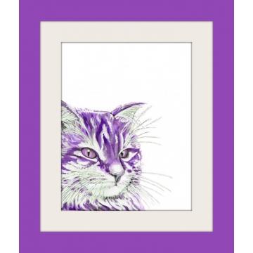 Purple Watercolor Cat Pop Art Print