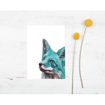 Aqua Blue Fox Watercolor Art Print