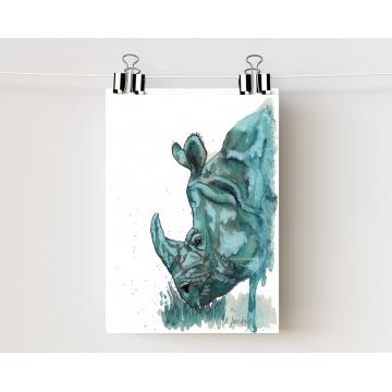 Aqua Rhino Watercolor Art Print, Unframed
