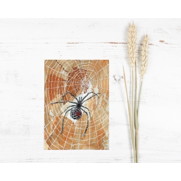 Halloween Black Widow Spiders and Webs Watercolor Art Print
