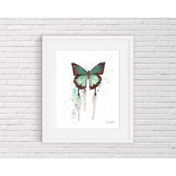 Aqua Butterfly Watercolor Art Print