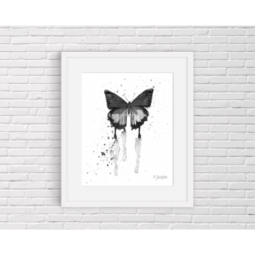 Black and White Butterfly Watercolor Art Print