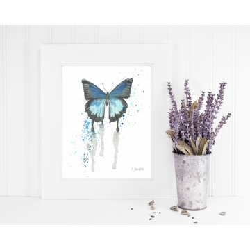 Blue Butterfly Watercolor Art Print