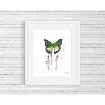 Green Butterfly Watercolor Art Print