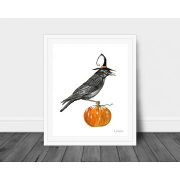 Halloween Crow Watercolor Art Print