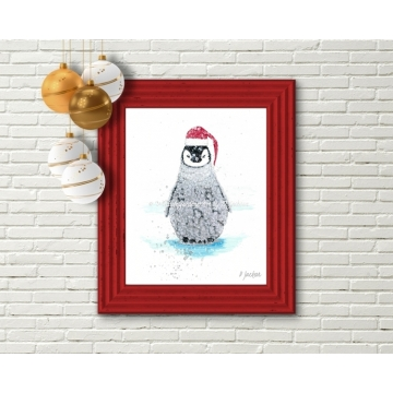 Christmas Penguin Santa Watercolor Art Print
