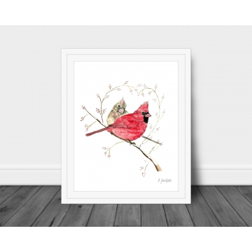 Winter Cardinals Watercolor Bird Art Print