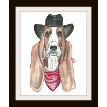 Cowboy Basset Hound Watercolor Art Print