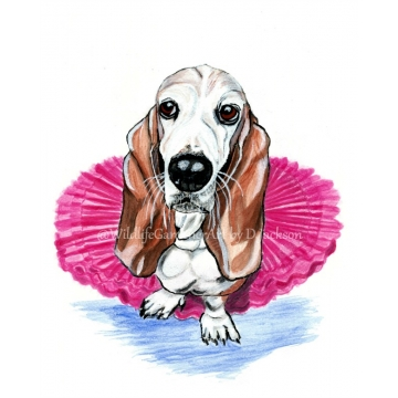 Basset Hound in Pink Tutu Watercolor Art Print
