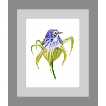 Blue Bird in Green Lily Flower Watercolor Art Print