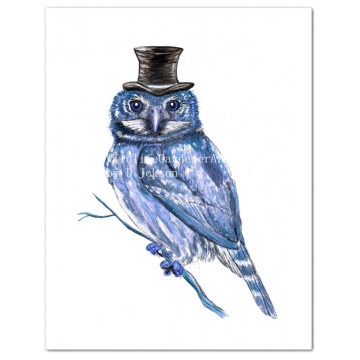 Blue Owl in Top Hat Watercolor Art Print