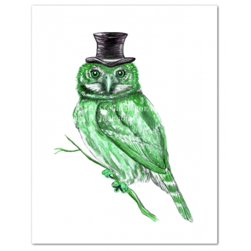 Green Owl in Top Hat Watercolor Art Print