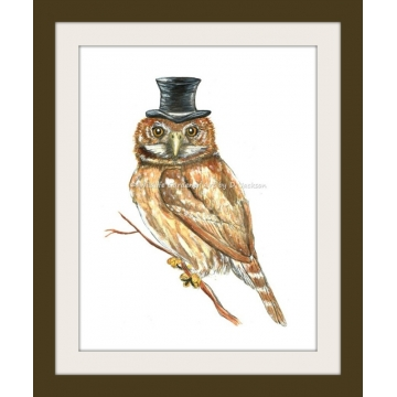 Owl in Top Hat Watercolor Art Print